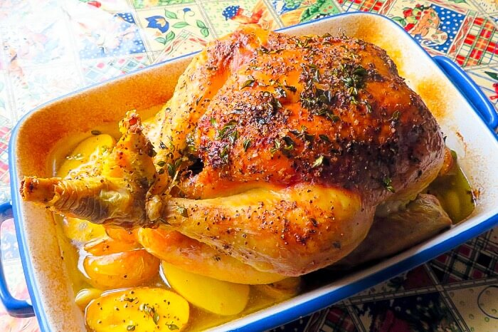 Roasted Garlic and Herb Chicken with Melting Potatoes | Marie Rayner