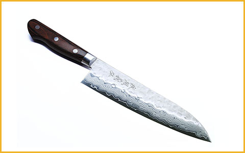 Best Santoku Knife Yoshihiro HDSA18 - Best Damascus Japanese Santoku Knife