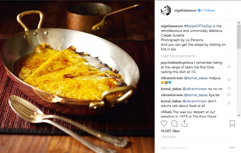 nigella lawson instagram post of crepes in a pot