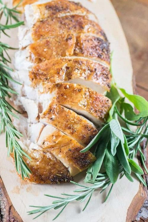 carved roast turkey on a platter