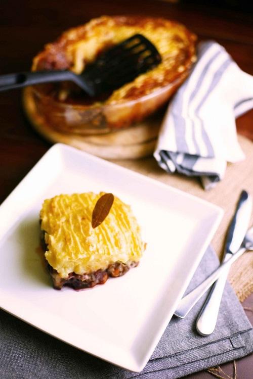 slice of vegan shepard pie on plate