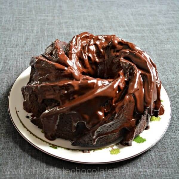 chocolate fudge macaroon bundt cake on plate seen from above