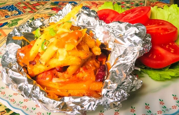 turkey chili burger foil pack