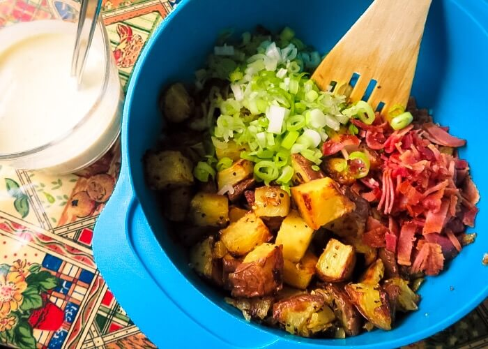 creamy roasted potato salad Ready to mix together