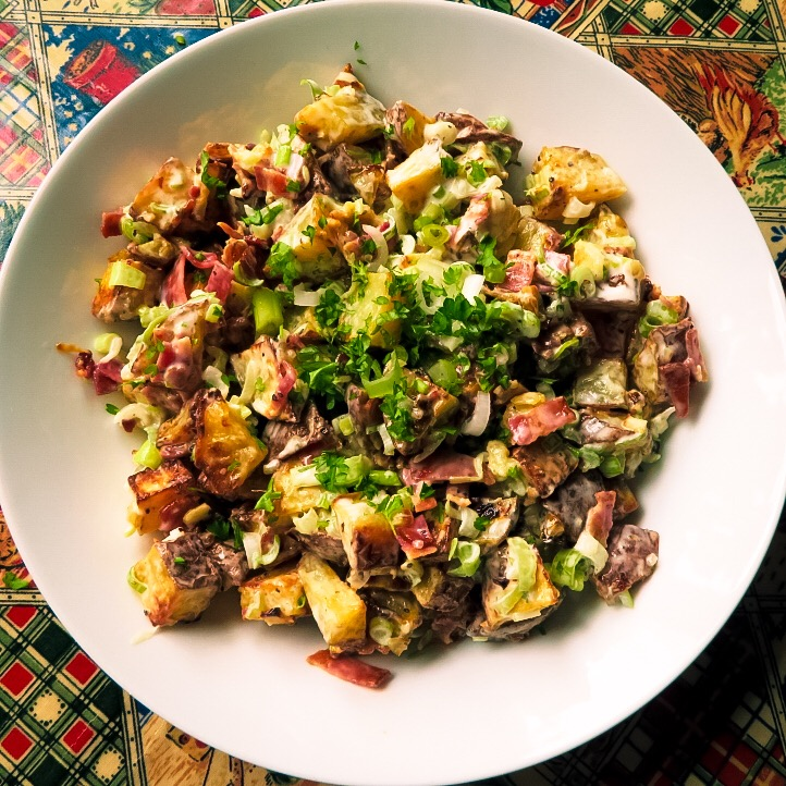 creamy roasted potato salad ready to serve 2