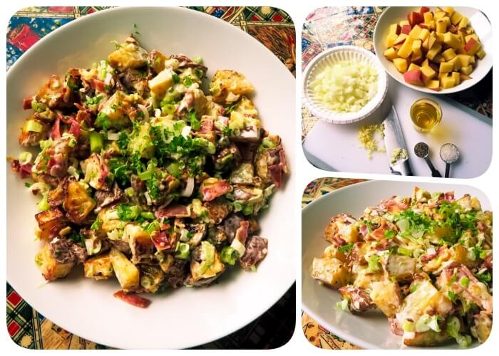 creamy rosted potato salad collage