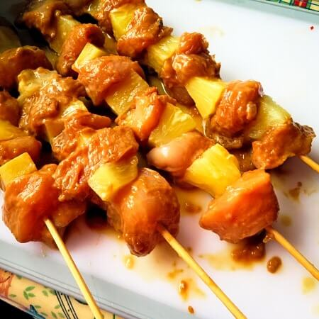 threaded skewers for chicken satay