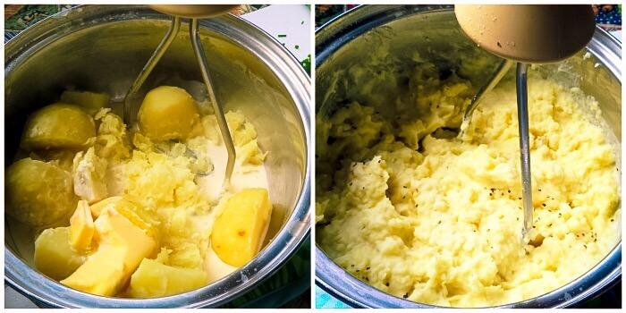 mashing the potatoes