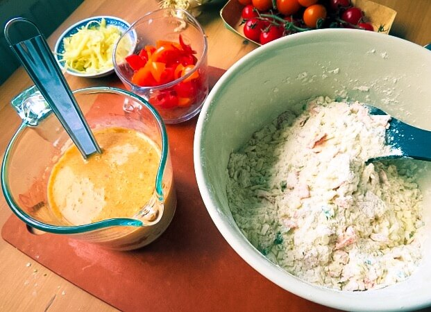 eggs and dry ingredients