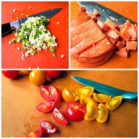 chopping the fresh ingredients