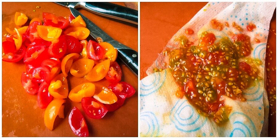 cutting tomatoes and removing the pips