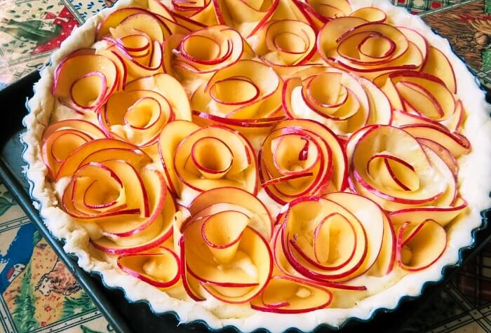 another view of the apple tart ready to bake