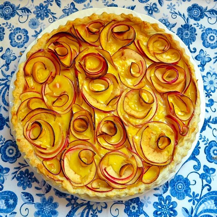 apple cardamom tart out of the oven