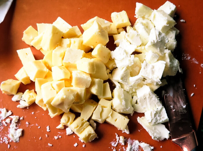 chopping the cheese