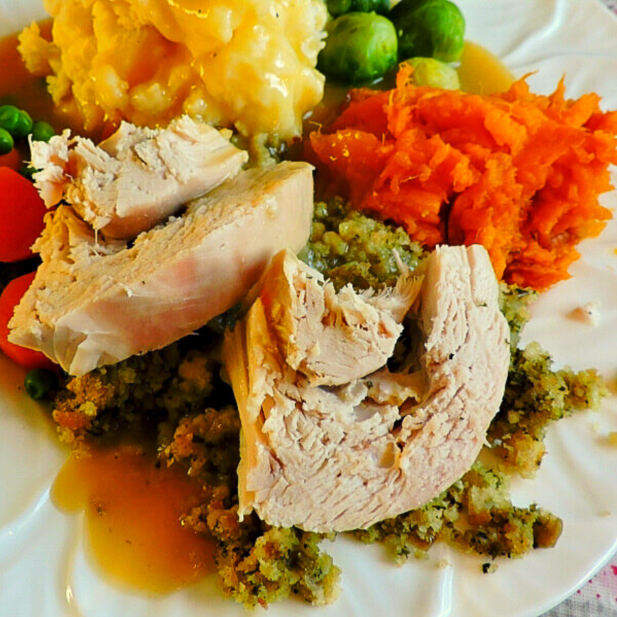 Turkey dinner served