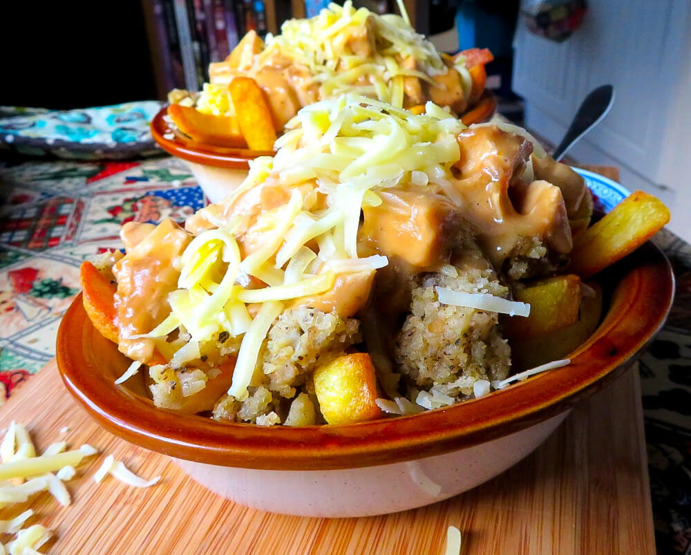 Thanksgiving leftover poutine in a bowl