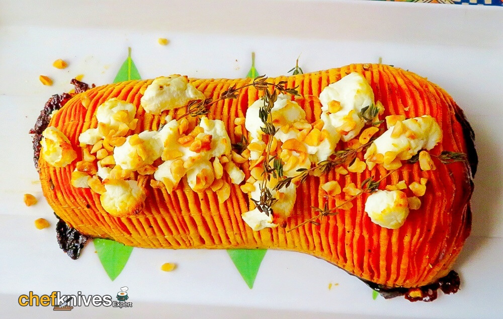 Holiday Hasselback Butternut Squash With Goat's Cheese & Hazelnuts | Marie Rayner