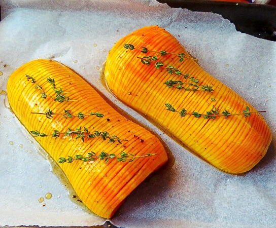 Hasselback squash ready for backing
